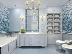 Furniture in classic blue bathroom